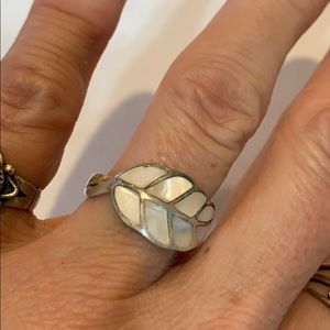 Sterling silver mother of pearl 925 leaf inlaid